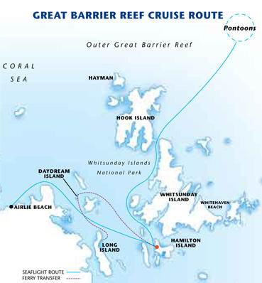 Map of Great Barrier Reef Day Cruise to Reefworld