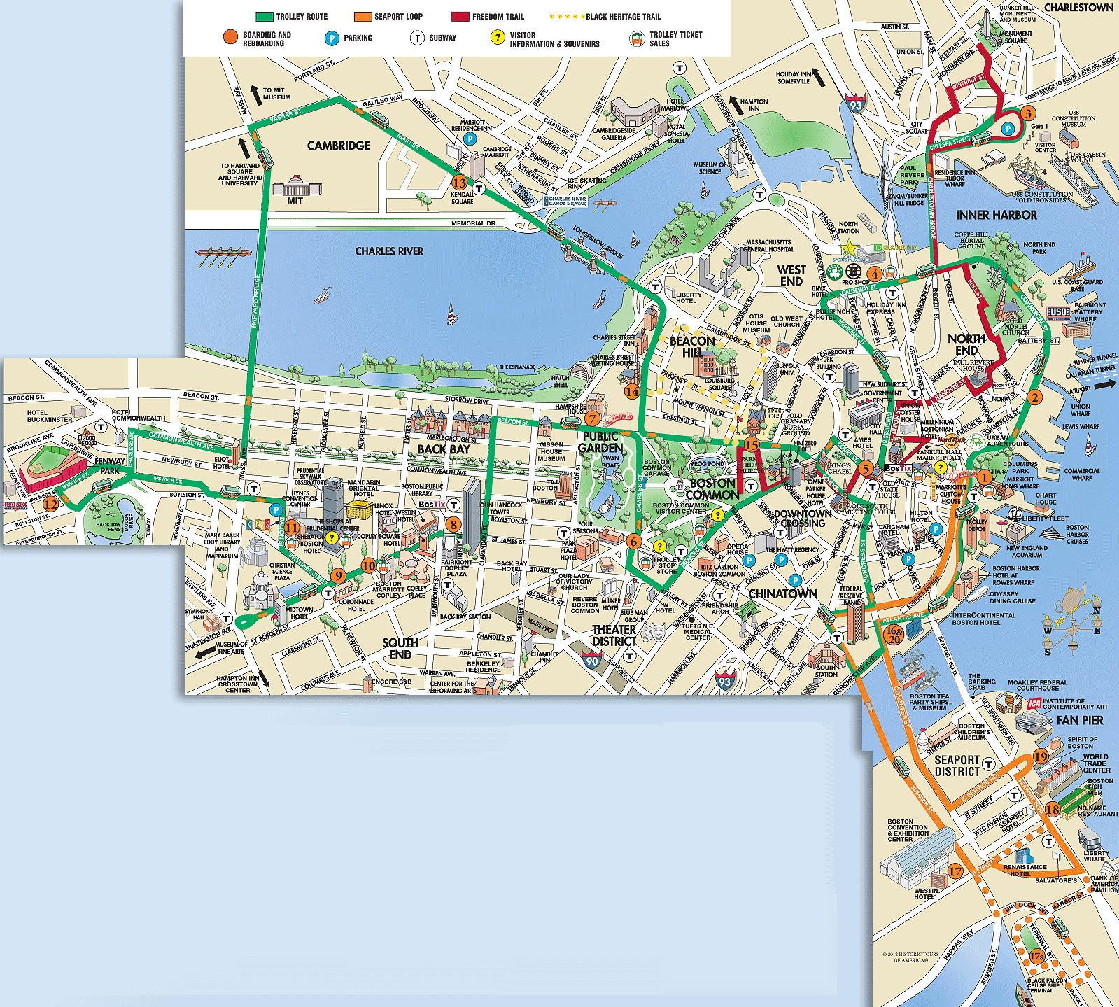 Boston Hopon Hopoff Trolley Tour in Boston USA Lonely Planet – Boston Map Tourist