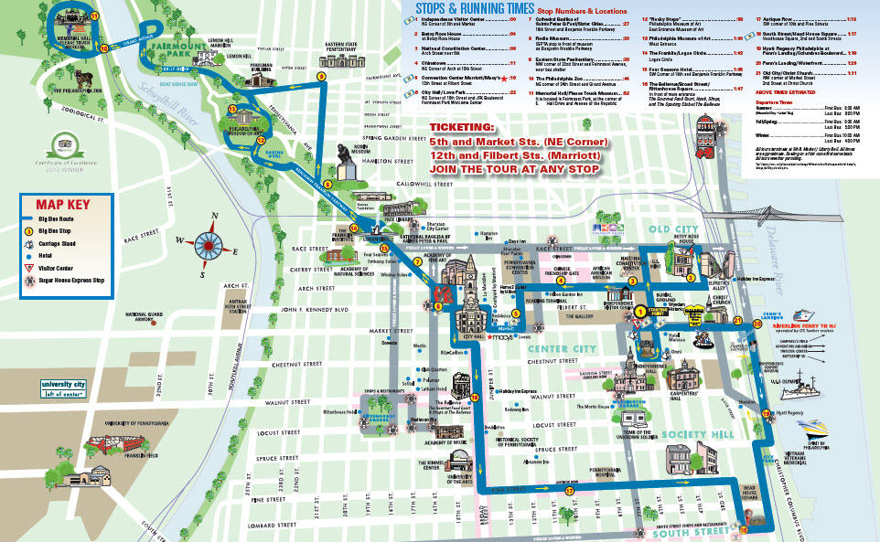 Map of Philadelphia Hop-On Hop-Off City Tour