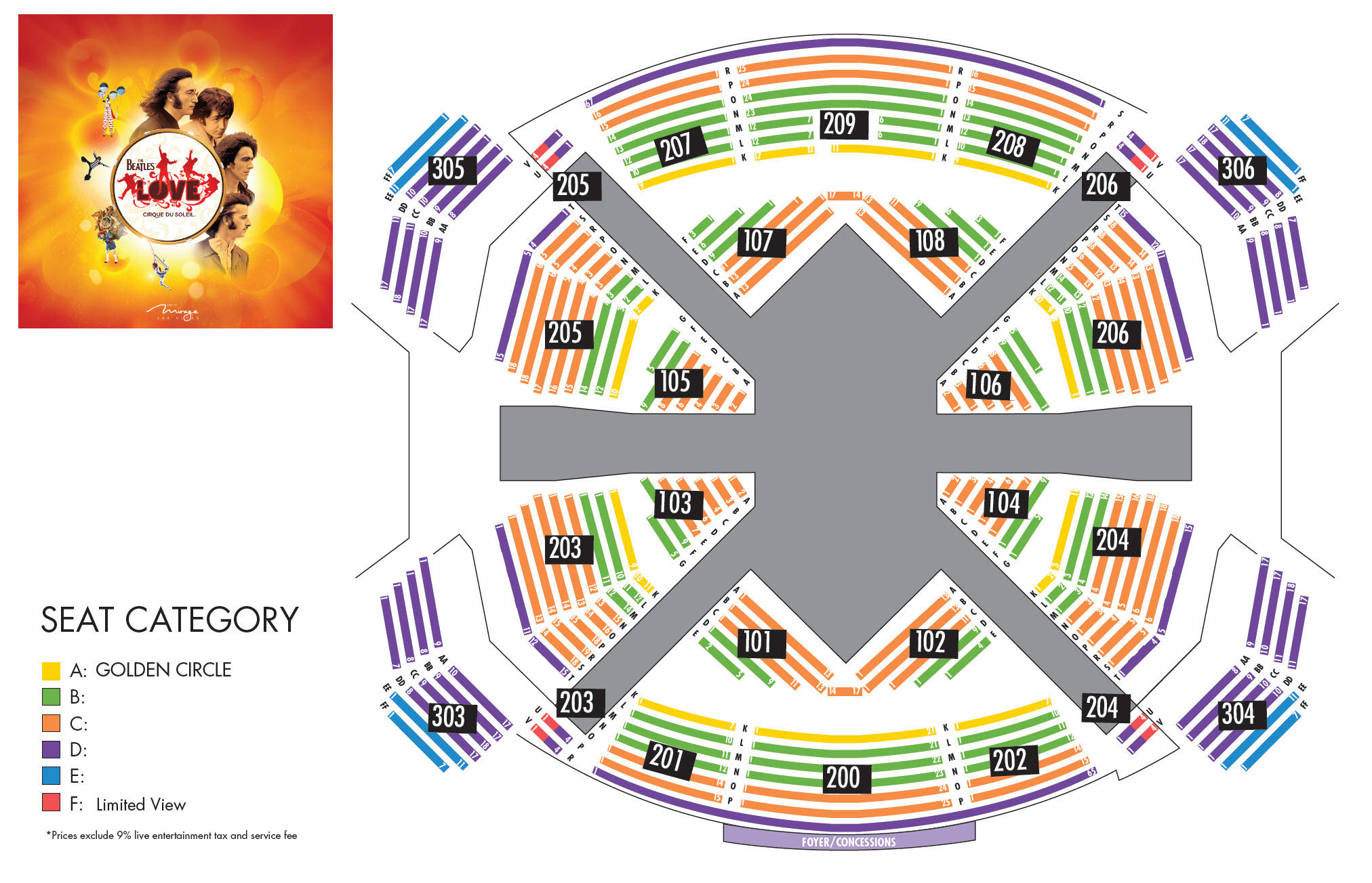 Map of The Beatles™ LOVE™ by Cirque du Soleil® at the Mirage Hotel and Casino
