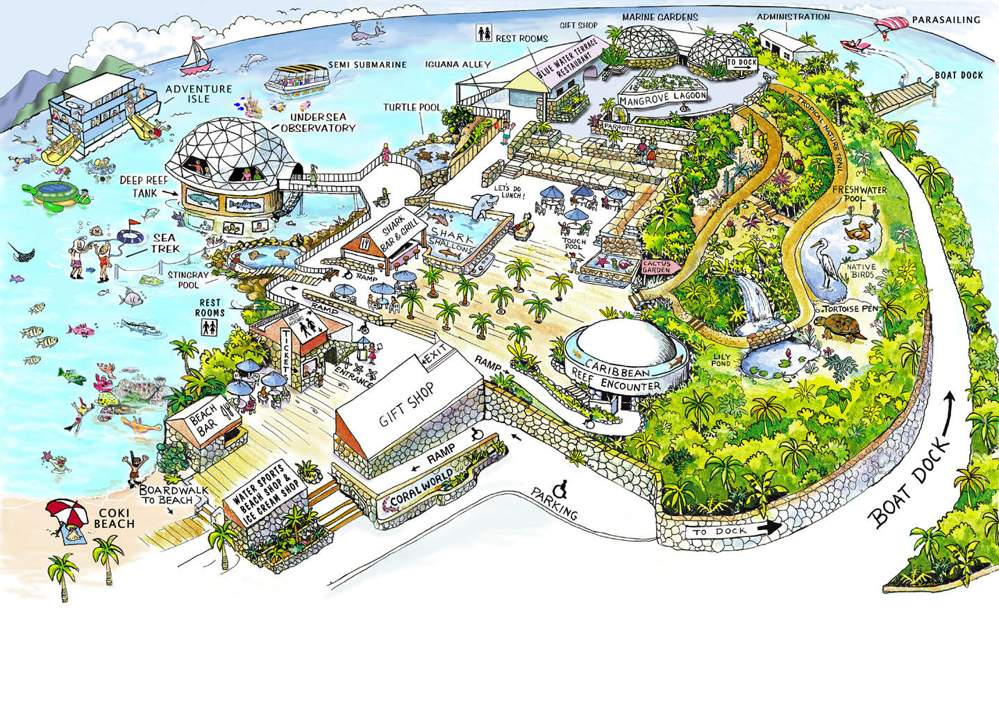 Map of St Thomas Shore Excursion: Swimming with Sharks at Coral World Ocean Park