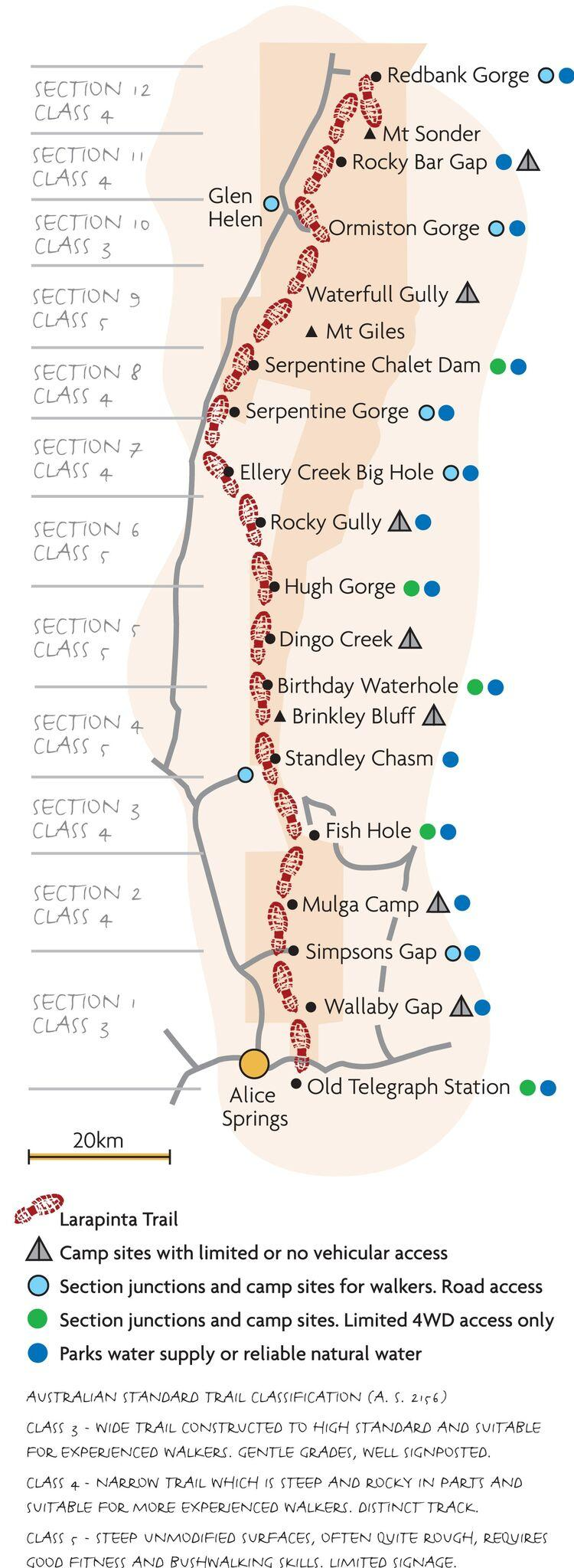 Map of 6-Day Larapinta Trail Walking Tour from Alice Springs