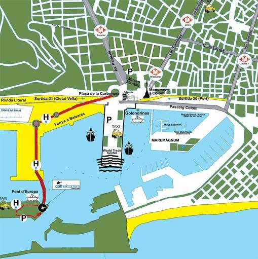 Map of Barcelona City and Coast Helicopter Tour