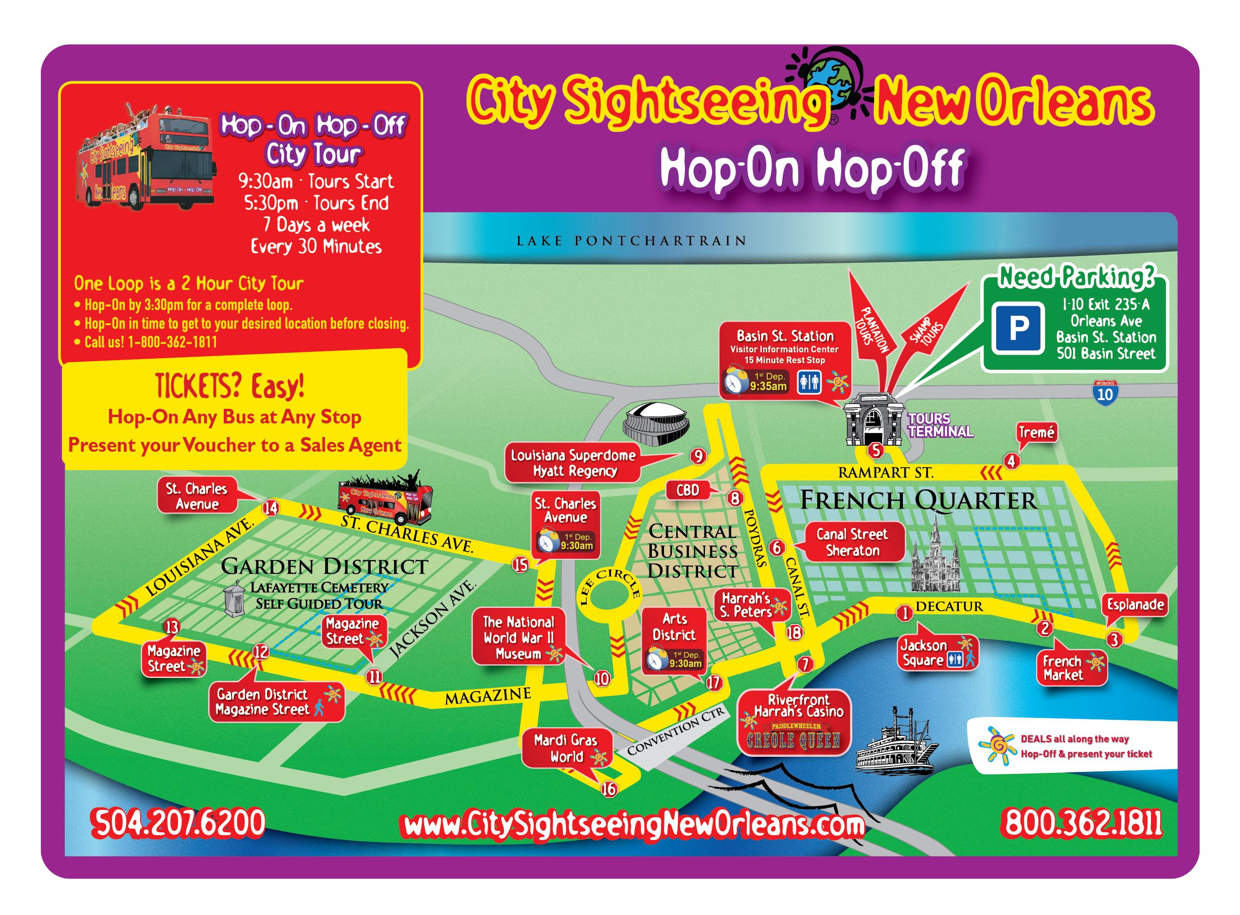 New Orleans Hop On Hop Off Sightseeing Double Decker Bus Tour New