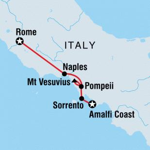 Map of 7-Night Southern Italy Tour from Rome