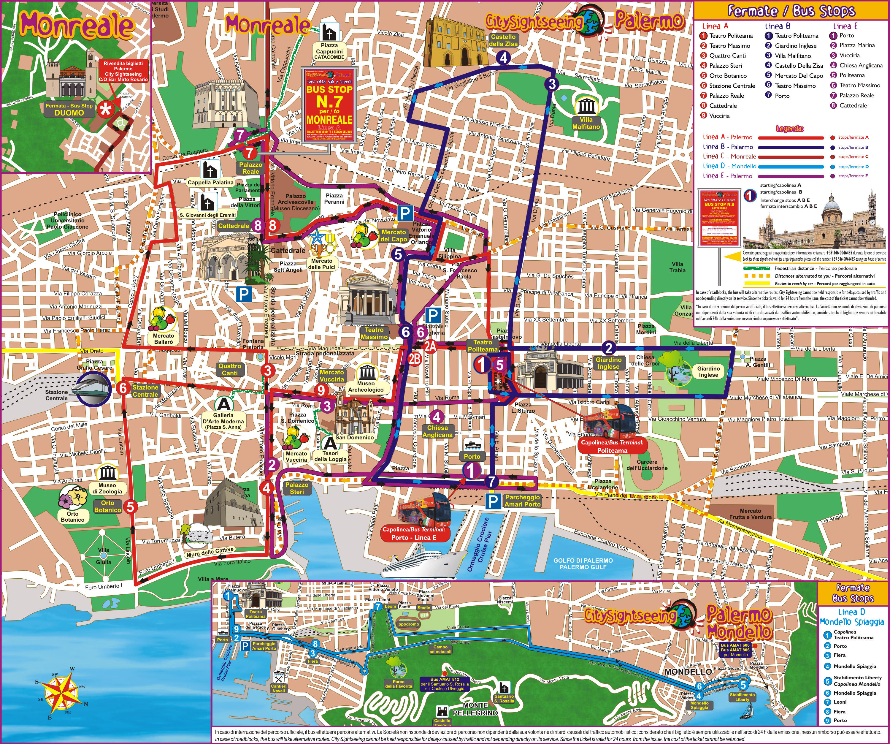 Map of Palermo City Hop-on Hop-off Tour