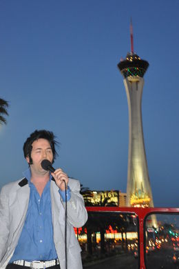 Photo of Las Vegas Las Vegas Double-Decker Bus of the Stars Elvis singing outside the Stratosphere
