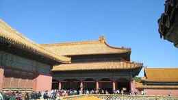 Visitors outside one the pavilions in the Forbidden City , URJIT Y - September 2015