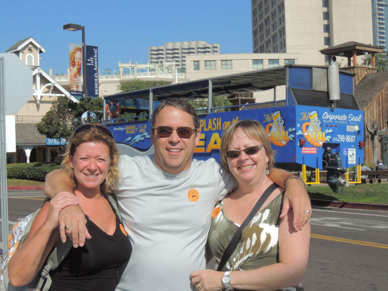 My brother, his wife and I off the Hop-on-off tour. - San Diego