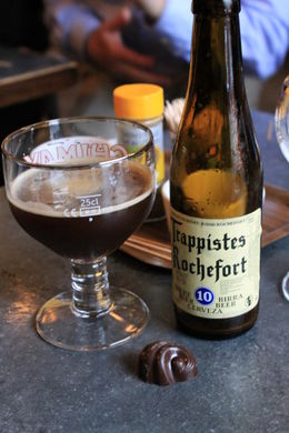 This trappiste beer had some chocolate notes enhanced by the dark chocolate from Godiva, that we ate with it. Delicious! , Destini K - November 2012