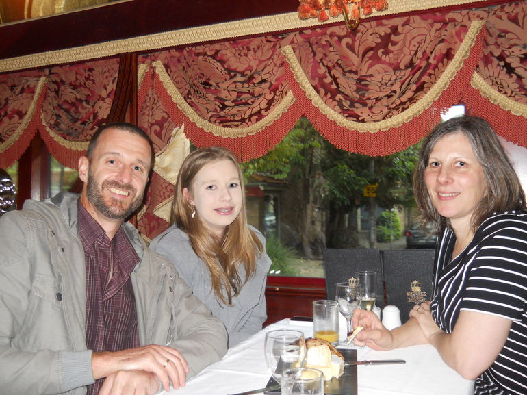 Karen, Mike and Erin enjoying a superb lunch onboard the Colonial tramcar restaurant Melbourne in April14.