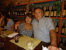 Linda and Mark enjoying dinner in the wine cellar , Linda S - June 2014