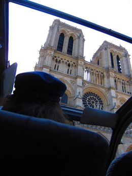 There's the famous face of Notre Dame in Paris, viewed through the sunroof of the 2CV, Barrie S - September 2011