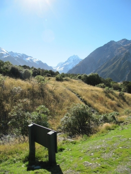 Mt Cook (centre) and Mt Wakefield (right) from Mt Cook Village - May 2010
