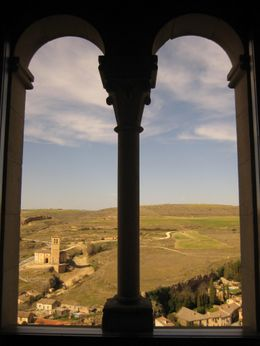 View from cloisters looking out from Toledo city walls; church of Knights Templar in background, Cate S - April 2009