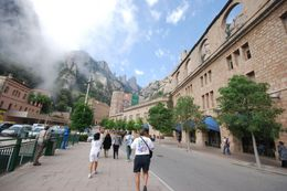 Photo of Barcelona Montserrat Royal Basilica Half-Day Trip from Barcelona Montserrat Tour Participants Heading In