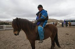 Beautiful pony that I got to ride. They supply the snow suit. It snowed a little about noon in late May. , Charles C - July 2015