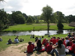 Many groups of various ages go round the Castle's fields, where various activities take place. here spectators admire the Giant Catapult being used., Alfred George Cross - September 2009