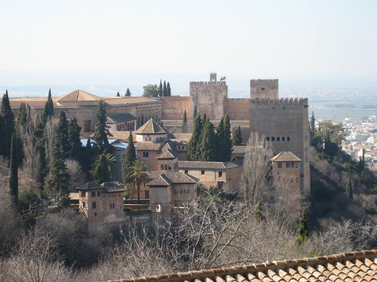 View of Alhambra from the gardens, Granada, Spain