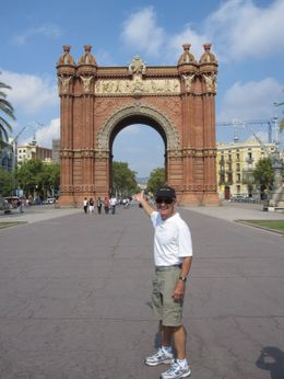Here is Don pointing out a landmark in Barcelona while on the Bike Tour - a great way to see the city! - September 2009