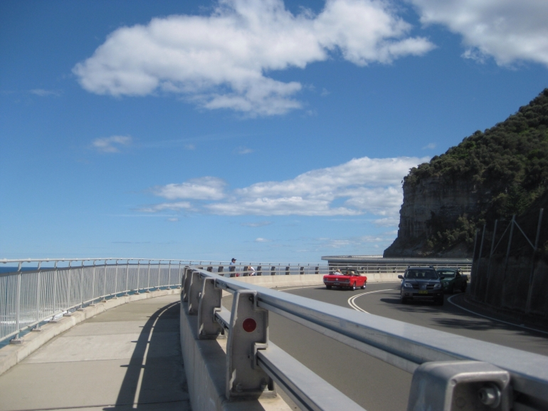 Driving over Sea Cliff Bridge -