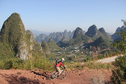 Dirt road trail with karst mountains Yangshuo is famous for - May 2012