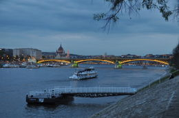 lights just coming on across the city. Pest to left with parliament; Chain Bridge and Castle in distance , Arthur - May 2012