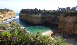 Loch Ard Gorge, showing the long narrow respite of calmer water and sand, and the dangerous narrow opening, Susan H - November 2010
