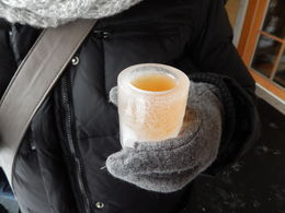 Photo of Montreal Ice Wine Tour from Montreal with Exclusive Winery Access Iced grape juice in an ice glass