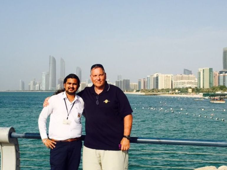 Mehul and Steve taking in Abu Dhabi's Persian Gulf