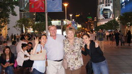 A candid shot on Nanjing Street with our tour guide, Rita , Melissa H - June 2012
