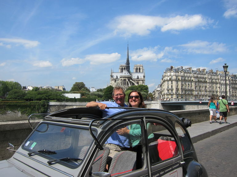 Our guide/driver kindly got out and took a photo of us in the 2CV with Notre Dame in the background.