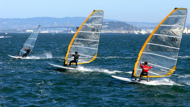 Windsurfers racing off Crissy Field, San Francisco