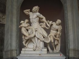 Depicts the Trojan priest Laocoon and his 2 sons struggling with a serpent sent by the gods. - November 2011