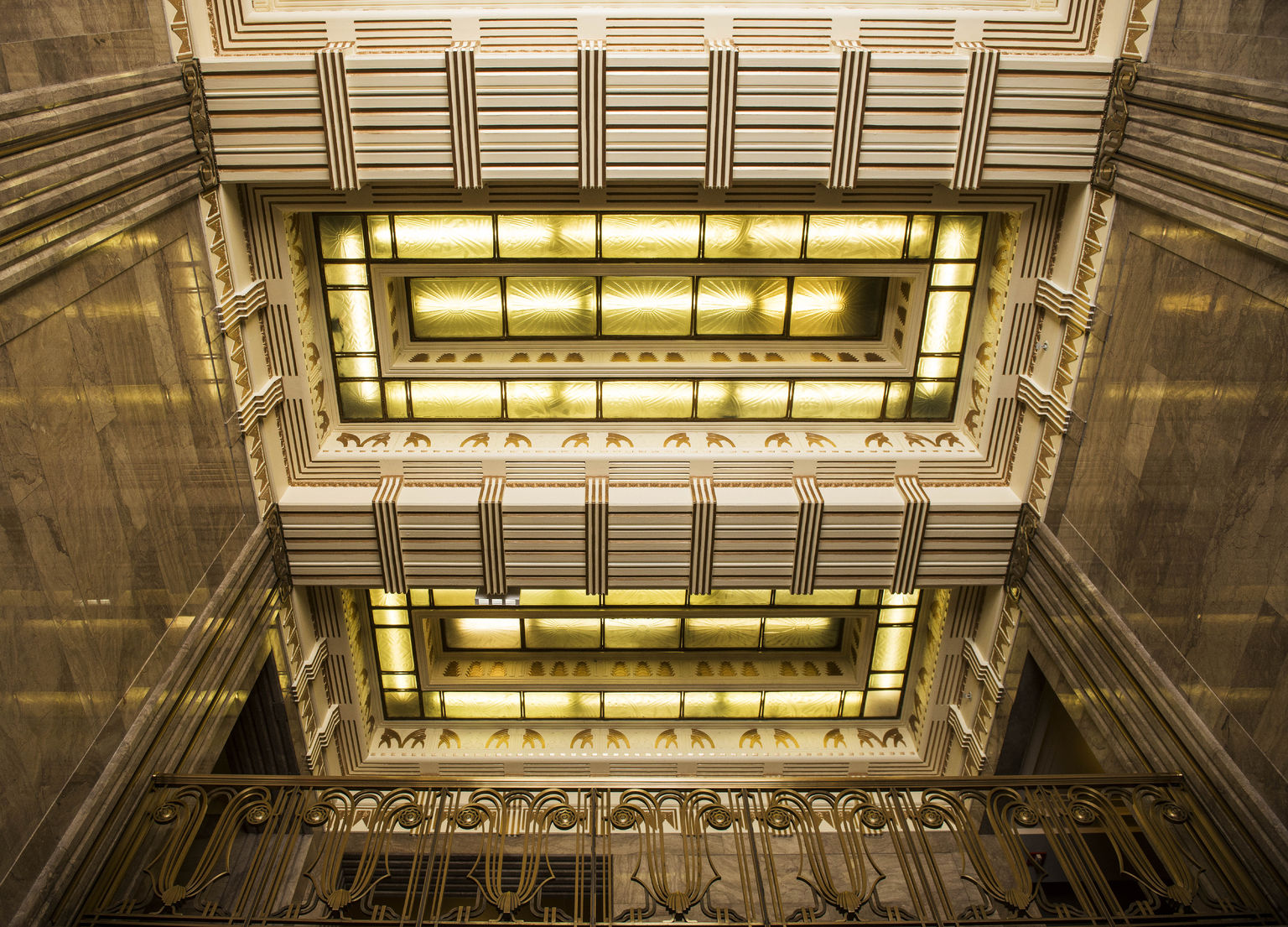 looking up in the carbide building