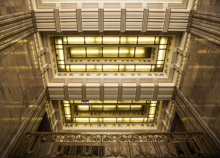looking up in the carbide building - Chicago