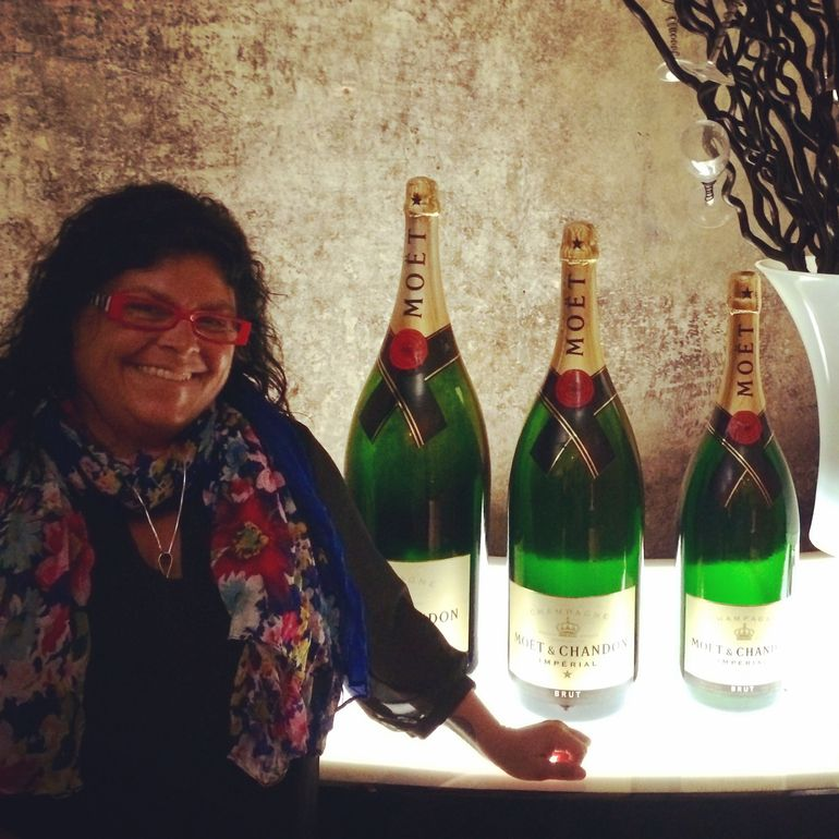 Me with large bottles of Moet and Chandon - Paris