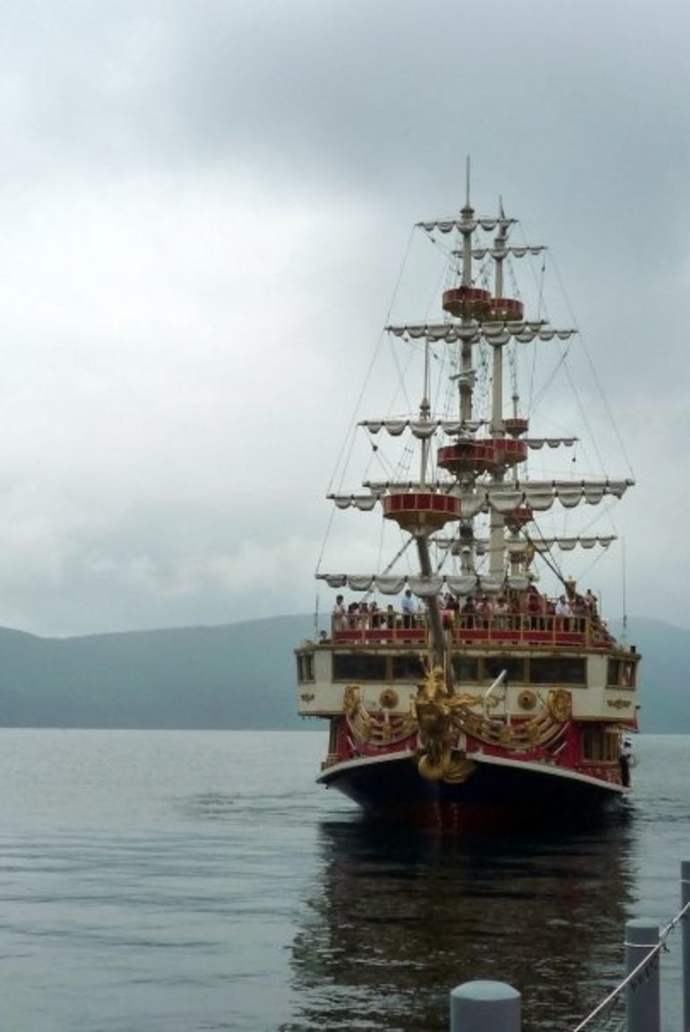 View of a pirate ship cruising on Lake Ashi - Tokyo