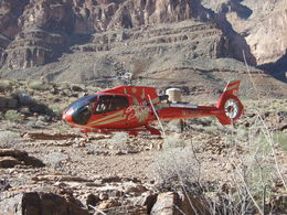 One of the helicopters landing at the base of the Grand Canyon West Rim , Nana - November 2012