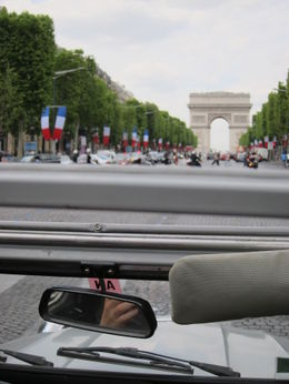 View of l'Arc de Triomphe from our 2CV sunroof, Barrie S - September 2011