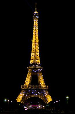 The Eiffel Tower at night - August 2009