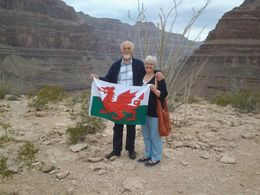 Geraint and Diane Evans waving the Welsh flag at the bottom of the Grand Canyon. That's another tick off the bucket list!! , Geraint E - June 2015