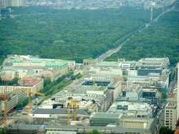 View of the Tiergarten and Brandenburg Gate from Restaurant in the Berlin TV Tower. , jcb - May 2014