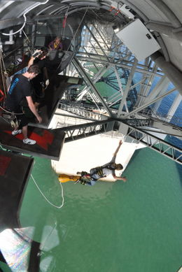 Photo of Auckland Auckland Harbour Bridge Bungy Jump My daughter leaps off!