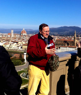 This is Arnaldo, our guide. He had a great dry sense of humor. He is describing the fantastic view from the Michelangelo Piazza. , Judith - March 2012