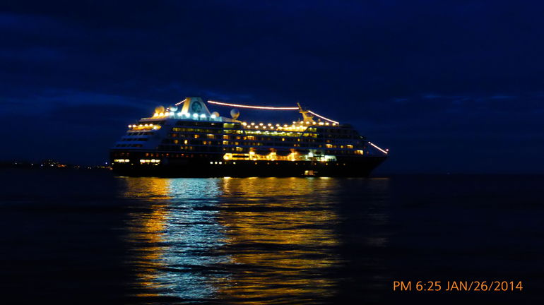 NIGHT TIME SHOT OF THE AZAMARA QUEST AS WE GET TO THE END OF THE CABO DOLPHINS 50 FOOT LUXURY SUNSET CRUISE