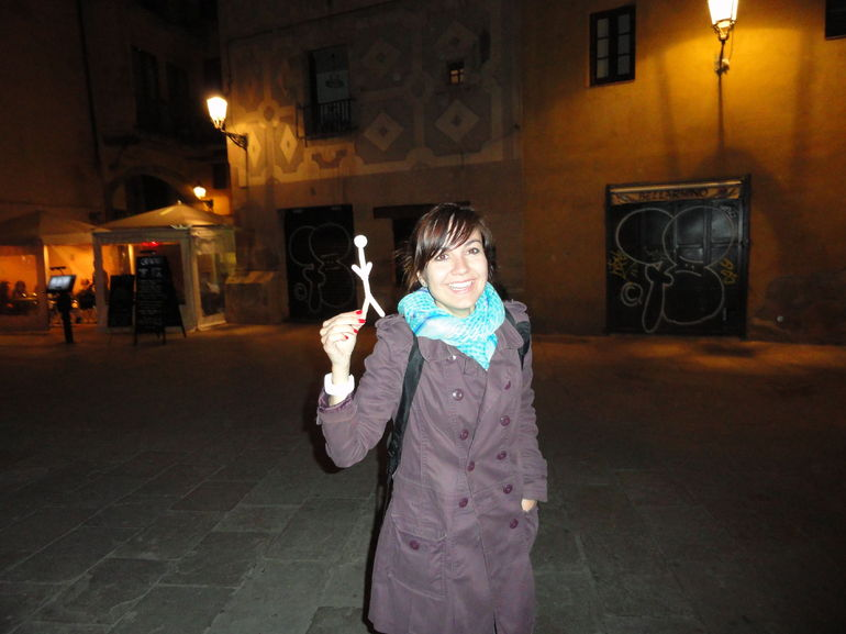 Traveling Stickman with our Tour Guide - Barcelona
