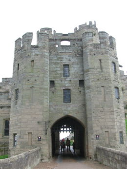 View of the Barbican Battlements entrance - East front of the castle. , David M - August 2015
