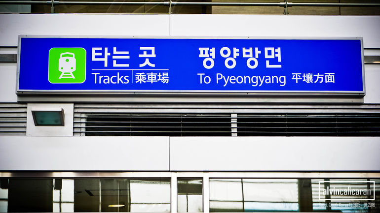 At the railroad Dorasan Station that is supposed to connect South Korea to North Korea and then eventually to the rest of Eurasia.