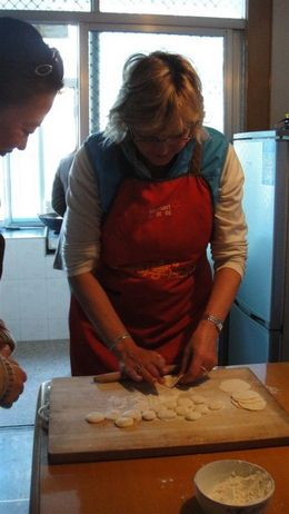 More of us trying our hand at dumpling rolling - January 2013